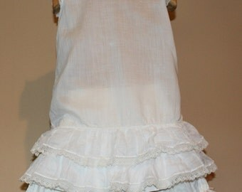 Vintage White Cotton Girls Ruffles Dress and Bloomers, Toddler Size