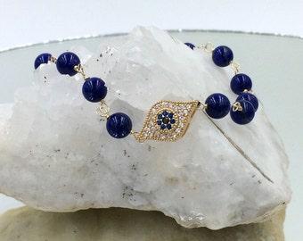 Blue Lapis Evil Eye Bracelet, Blue Wire Wrap Charm Bracelet, Yoga Friendship Stack Gold Fill Layering Bracelet, Evil Eye Charm Bracelet