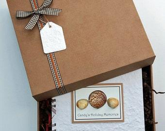 "Holiday memory book, travel photo album, 8""x8"" boxed scrapbook, seashells, personalised"