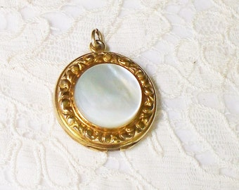 Antique Photo Locket - Mother of Pearl, Repousse, Signed, Gold Filled, Rolled Gold, Rose