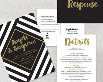 black and white striped wedding invitations, black and white wedding, gold glitter, glam wedding invitation, gold wedding, wedding printable