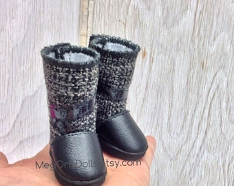 "Tall Black and Gray Boots fit 13"" Little Darling Dolls"