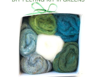 Needle Felting Kit Beginner - Wool - Starter Kit - Tools Needles Supplies - DIY Craft Kit - Natural GREEN Wool Roving - DIY Home Decor