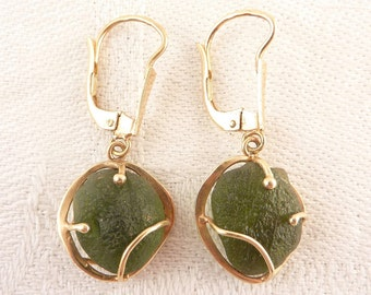 Vintage 14K Gold Green Beach Glass Designer Earrings