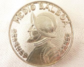 SALE ---- Vintage Panama Silver Coin Cutout Medio Balboa Brooch