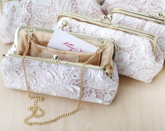 Bridesmaids Clutches Lace Clutches for Bridal Party in BLUSH PINK - Set of 5 with gift boxes L'HERITAGE