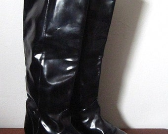 Vintage 80s Via Appia Black Genuine Leather Riding Boots Size 8.5