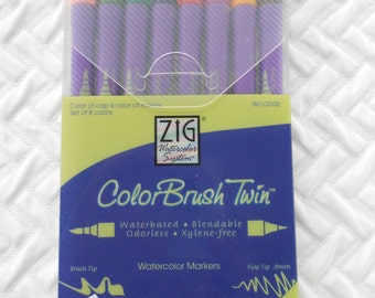DESTASH, ZIG Watercolor Markers, ColorBrush Twin Markers, Ski Lodge, Brush Tip, Fine Tip, Artist Markers, Scrapbook Markers, Never Used