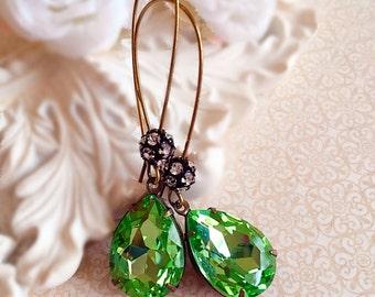 Best August Birthstone Gift - Peridot - Victorian Earrings - Dangle - COVET Peridot
