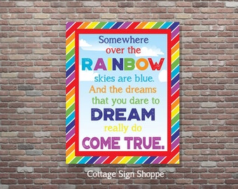 Somewhere Over The Rainbow, Rainbow Party Decor,INSTANT DOWNLOAD, Childrens Room Decor, Nursery Wall Art, Rainbow Playroom, Rainbow Wall Art