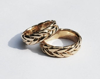 Extra Wide-Thick 5K Gold Braid Ring