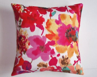 Throw Pillow Cover, I Kat Diva Floral Throw Pillow Cover, Pink & Orange Floral Toss Pillow, Cushion Cover, Home Essentials, Assorted Sizes