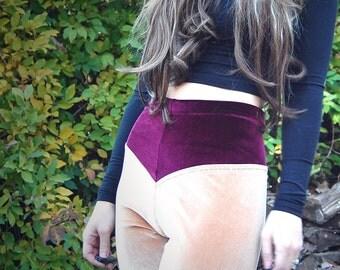 Zarah - Two Tone Velvet Legging - in Buff and Wine - by Simka Sol®