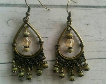 Boho Antique Brass Chandelier Earrings - Tribal Dangle Earrings - Olive Beaded Earrings - Bohemian Jewelry - Gift for Her