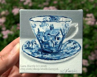 CUSTOM Blue and White Cottage Teacup Mini Painting in OIL by Lara ACEO 3x3 Still Life Chinoiserie