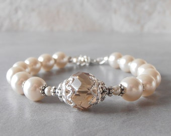 Bridesmaid Jewelry Pearl Bracelet Champagne and Ivory Beaded Jewelry Bridal Jewelry Pearl and Crystal Wedding Bracelet Mother of the Bride