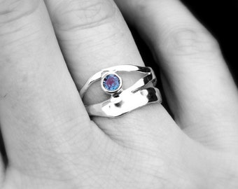 Colour Change Alexandrite Ring, Sterling Silver Alexandrite Organic Design Ring, Recycled Silver Ring, June Birthstone Ring,  Elementisle