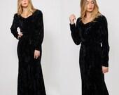 Vintage 80s NORMA KAMALI Dress BLACK Crushed Velvet Dress Goth Victorian Maxi Dress Mermaid Hem Gypsy Dress