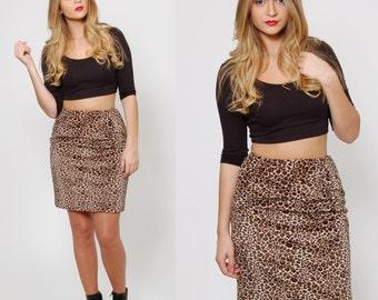 Vintage 80s LEOPARD Print Skirt Faux FUR Mini Skirt Retro Rocker Glam Skirt ANIMAL Print Pencil Skirt
