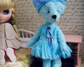 "OOAK Collectible Miniature Artist Bear - ""Talulah"" - 5-6"" -  Blue"