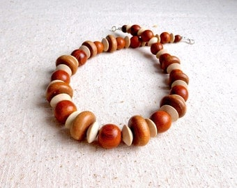 Chunky Exotic Wood Bead Necklace (Item Z 61)