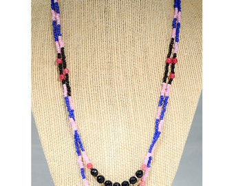 The Ibiza, Pink and Oynx, double-strand necklace