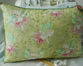 TRAVEL PILLOW Mark Hordyszynski Pixie Cats / Satin Back / Includes Faux Down Insert - FREE Shipping thru 8/4