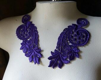Purple Lace Applique Pair in Purple Venise Lace for Lace Jewelry, Costume Design, Garments PR 11p