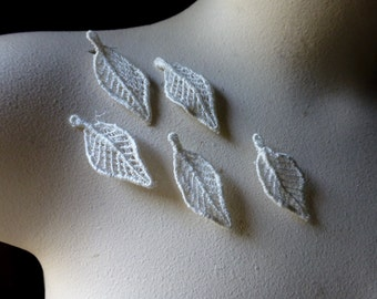 5 Ivory Leaves Lace Applique Leaves for Bridal,  Lace Earrings, Applique, Garments