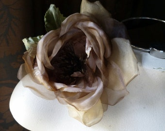 Silk Rose in Brown Velvet and Silk Organdy for Bridal,  Millinery, Corsages, MF101-4774