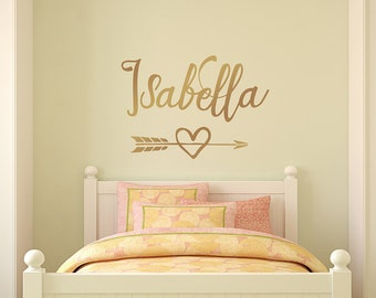 Gold Wall Decal, Personalized girl name decal, arrow heart decor, wall nursery decor, monogram arrow decal