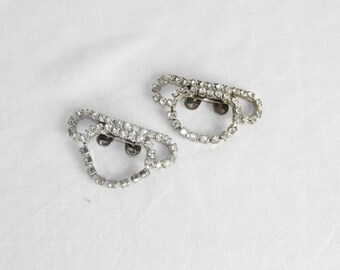 SALE | 1950s Rhinestone Bow Shoe Clips | Vintage 50s Sparkly Shoe Accessory Clips