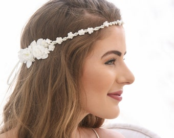 Vintage Flower Crown of Pearls and Vintage Flowers, Ribbon Tie Headpiece Floral Halo, Bridal Headpiece First Communion Hair Accessory