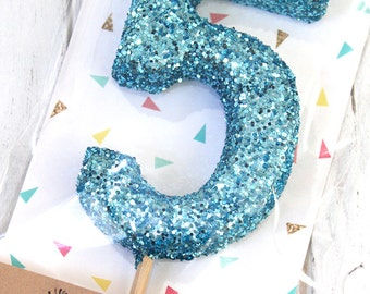 Glitter Number Cake Topper - cupcake topper, first birthday