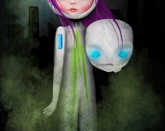 """13x19 Fine Art Print - """"Aurora"""" - Large Giclee Print by Jessica von Braun - Little Super Hero Girl - Little Robot Girl Purple Hair"""