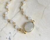Moonstone Bracelet. Beaded Bracelet. Wire Wrapped Stone Bracelet. Stacking Bracelet. Gold filled. White Stone Bracelet. Delicate Bracelet.