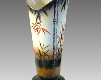 Handsome Signed Sylvac Bamboo Asian Styled Vase, Made in England