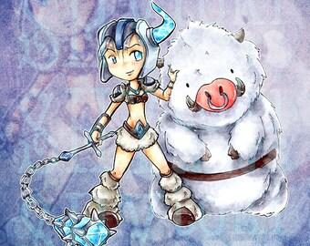 Sejuani Cute Chibi League of Legends Traditional Marker Art Print Illustration