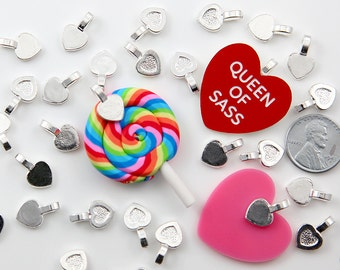 Heart Bails - 15mm Heart Shaped Silver Color Glue-On Bails - make cabochons into charms - 20 pc set
