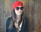 Hippie RED Turban Hat / ethnic boho festival