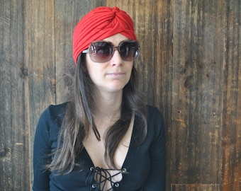 Hippie RED Turban Hat / ethnic boho festival
