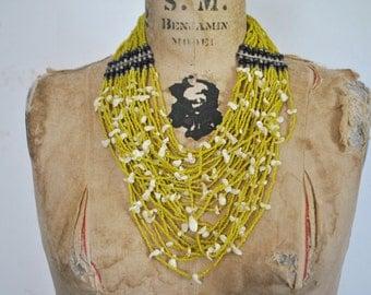 YELLOW Beaded Necklace / boho festival bib