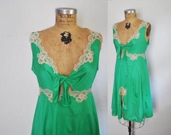 Peek a Boo CUTOUT Babydoll Lace Lingerie Slip Dress / Emerald / S-M