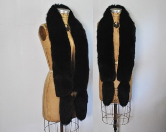 Gorgeous Black Fox Fur Scarf BOA Stole
