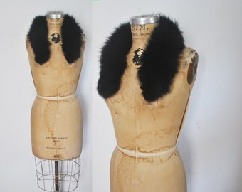 Black Fox Fur Collar / genuine fur / 1980s
