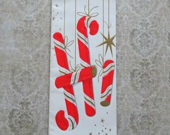 Vintage Mid Century Flocked Candy Cane Christmas Card Unused
