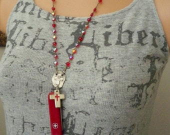 Recycle red rosary chain - Swiss red knife - Crosses  - Religious assemblage - One of a Kind bycat