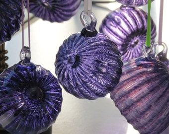 "Sea Urchin Ornament, 3"" Purple Hanging Sea Shell Sculpture, Blown Glass Holiday Ornament or Suncatcher, By Avalon Glassworks"