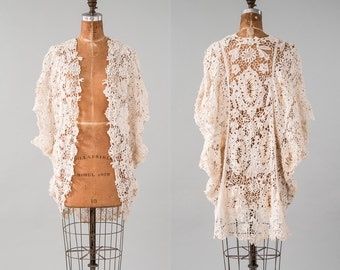 Antique Battenberg Lace Cocoon Coat, Vintage Cream White Lace Shawl Cape Jacket, 19th Century Edwardian, Women's Clothing, Jackets & Coats