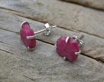 Raw Ruby Stud Earrings, Raw Ruby Earrings, Rough Gemstone Earrings